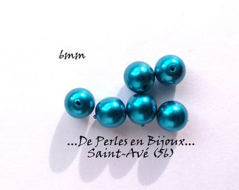 6 pearls 6mm round glass blue
