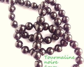 Black TOURMALINE bead 10 beads round 6mm natural stone