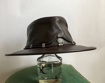 Vintage 90s Minnetonka leather hat ~ boho western hat