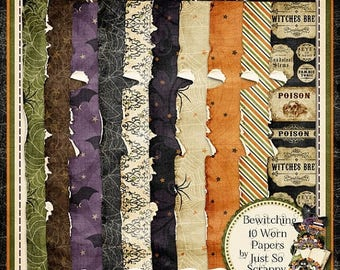 On Sale 50% Bewitching Digital Scrapbook Kit Worn Papers Pack - Digital Scrapbooking