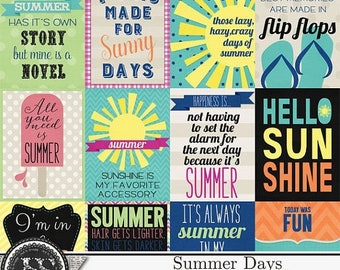 On Sale 50% Summer Days, Beach, Swim, Journal Cards and Pocket Scrapbook for Digital Scrapbooking, Project Life