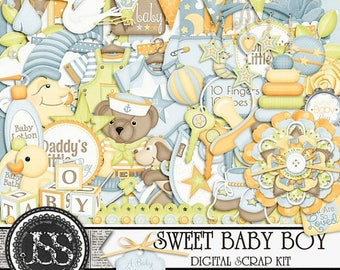 On Sale 50% Sweet Baby Boy Digital Scrapbook Kit for Digital Scrapbooking and Paper Crafting