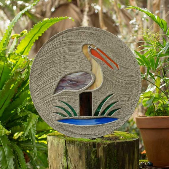 "Stained Glass Pelican Stepping Stone Large 18"" Diameter Made with Concrete and Stained Glass Perfect for Your Garden Patio or Backyard #784"