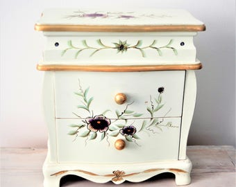 Jewellery Chest, Jewelry Box, Hand Painted, Flowers, Floral, Gold, Cream, Two/Three Drawers, Shabby Chic