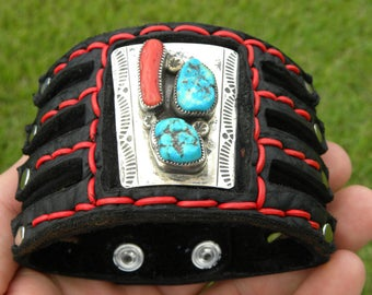 Buffalo Bison Leather cuff Bracelet vintage  sterling silver Native Indian Navajo coral turquoise  customize to wrist size one of kind