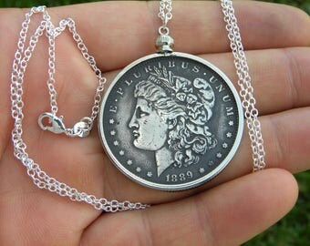 1889 authentic vintage silver US  Morgan one  dollar coin necklace pendant sterling silver chain 16 or 18 or 20 or 22 or 24 or 28 or 30 inch