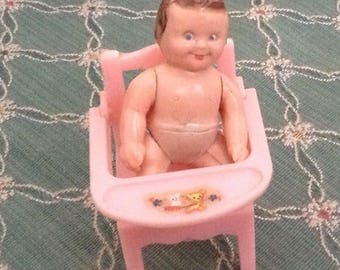 Vintage Dollhouse Potty Chair With Bib and Baby