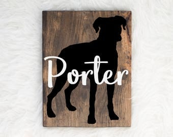Hand Painted Boxer Silhouette on Stained Wood with Name Overlay, Dog Decor, Painting, Gift for Dog People, New Puppy Gift