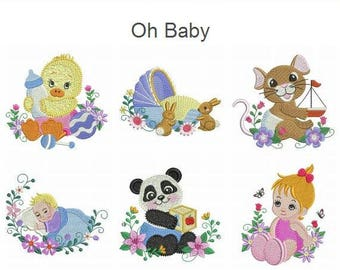 Oh Baby Machine Embroidery Designs Pack Instant Download 4x4 hoop 10 designs APE2521