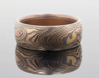 Mokume Woodgrain Band in Oxidized Fire