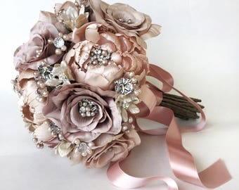 Althea Rose Star Flower and Peony Blush Champagne Couture Jeweled Bouquet