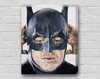Keaton's Mask - Michael Keaton Tim Burton's Batman Canvas Art Print