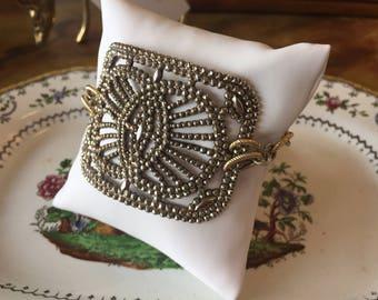 Pressed Steel Cut Buckle Bracelet on Handmade Silver Gold Link Chain