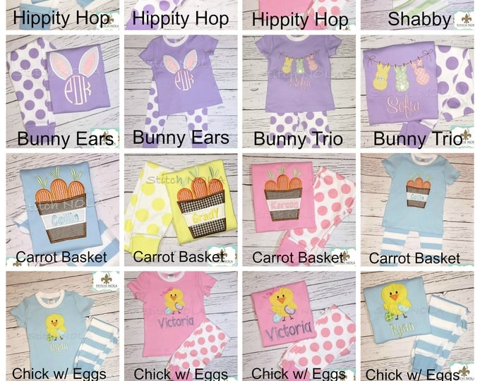 Featured listing image: Easter Pajamas, Spring Pajamas, Bunny Applique, Monogrammed Pajamas, Easter Applique, baby's 1st Easter, First Easter, First Easter Pajamas
