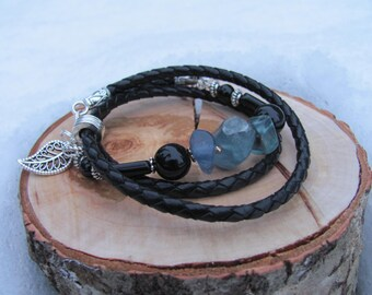 Natural braided leather with Fluorite and Black Agate