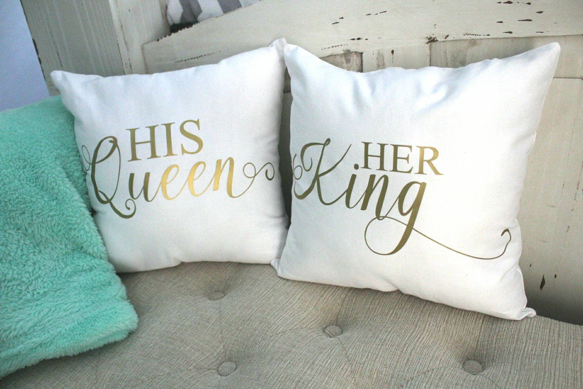 King And Queen Decorative Pillows : King and Queen Throw Pillows His and Hers Decorative Pillows
