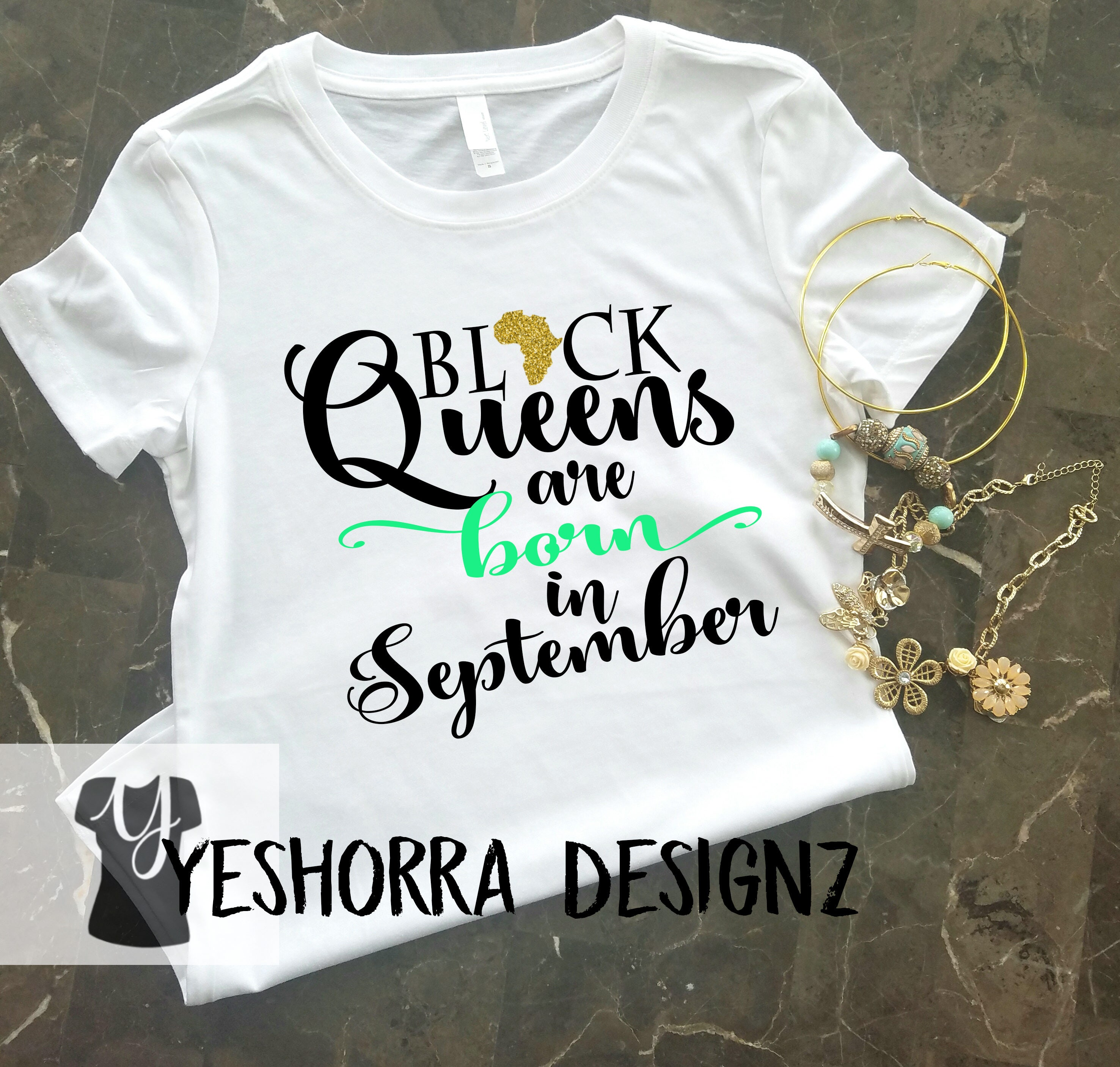 22a8e586324c ... January Birthday Queen: Black Queens Are Born In September Birthday  Queen Shirt