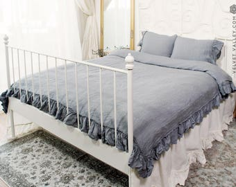 Light charcoal grey linen BED SET/ duvet cover and pillow shams with ruffles - French style double/queen/king size bed set