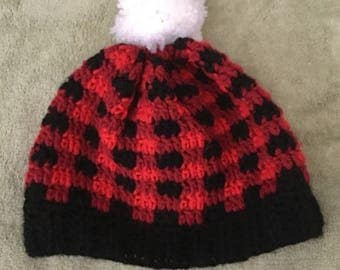 Red and Black Crochet Plaid Beanie - Size adult
