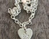 Custom forget-me-not heart bracelet