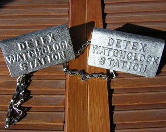 Pair of Detex watchclock keys