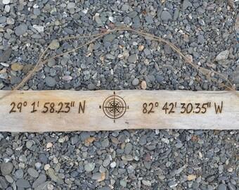 Driftwood Sign Housewarming Gift, Custom Longitude Latitude GPS Coordinates, Lake House Wood Decor New Beach Home Couple Wedding Anniversary