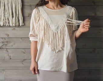 CLEARENCE! Linen Tassel Mesh Shirt