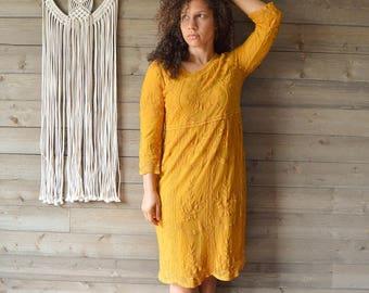 Mustard Florence Midi Dress