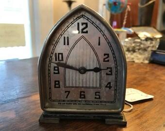 Vintage Lux Clock Mfg Company Cathedral Clock Waterbury CT Circa 1920
