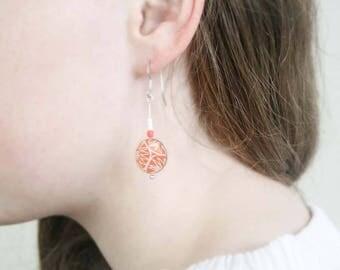 Orange drop earrings, lightweight earrings, gift for mum, contemporary jewellery, paper jewellery, sterling silver earrings, resin earrings