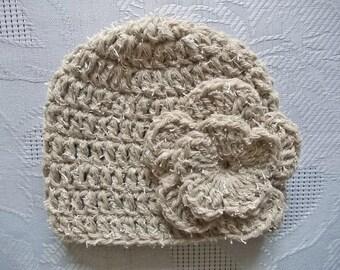 Wool baby hat Beige baby hat Newborn girl hat Baby girl beanie Newborn wool hat Baby girl hat Crochet baby hat Flower baby hat Newborn hat
