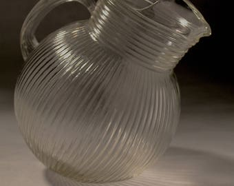 Clear Ribbed Glass Pitcher