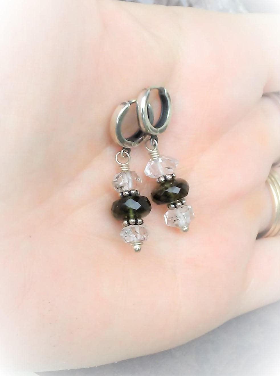 5dee9d27b6bec Moldavite And Herkimer Diamond Earrings-Moldavite Jewelry-Herkimer Diamond  Jewelry-Sterling Silver-Healing Jewelry-Rare Faceted Moldavite