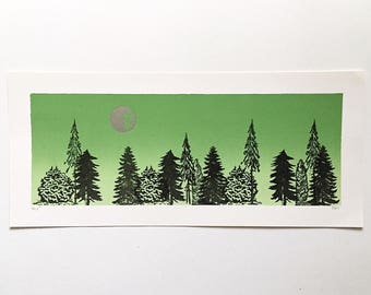 16x7 Letterpress Print  - Silver Moon over Trees