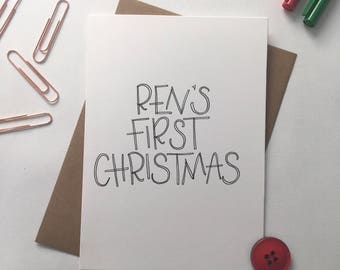 Personalised Baby Christmas Card - First Christmas - Custom Christmas Card - Family - Friendship - Cards for Children - Special Cards