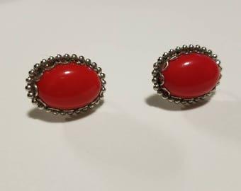 Vintage Red Statement Stud Earrings