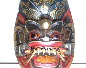 Fine Vintage Hand Carved and Painted Balinese Face Mask