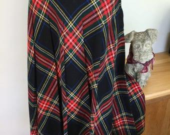 1970s plaid tartan pleated skirt by Prova