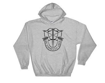 Special Forces Hooded Sweatshirt Black Print