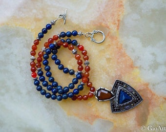 Lapislazuli and Carnelian Necklace, Beaded Necklace,Tribal Boho,Gemstone Necklace,Beaded Jewelry, Ethnic Pendant,Blue and Red Necklace