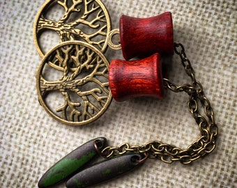 "Magnetic Bloodwood Tunnels w/ Tree of Life Dangles-Sizes 2g(6mm)-1 1/2""(38mm)/Bronze/Silver/Organic/Hippie/Wedding/Eyelets/Gauges/Plugs"