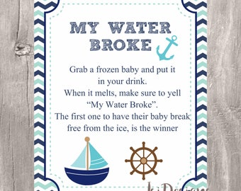 Charming My Water Broke Baby Shower Game, Printable Nautical Teal And Navy Baby  Shower Game,