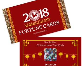 Chinese New Year - Scratch Off Game - 2018 Year of the Dog Game Cards - Spring Festival Scratch Off Fortune Cards - 22 Cards