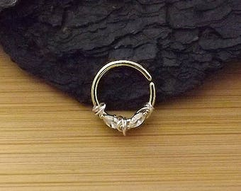 Clear CZ Bendable Septum/Cartilage Hoop Ring with Prong Marquise / Gold IP 316L Surgical Steel