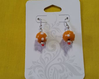 """ORANGE LAMPWORK EARRINGS - Orange Lampwork Glass Beads,w/ clear glass and red seed beads on Sterling Silver Clad Ball Hook Wires - .75"""" Long"""