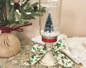 Mason Jar Waterless Snow Globe Christmas Tree - Rustic Elegant Christmas Centerpiece Decor