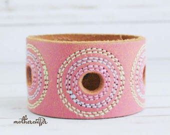 CUSTOM HANDSTAMPED wide pink leather cuff with stitching by mothercuffer