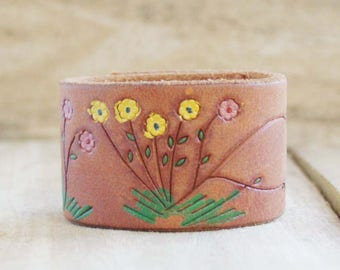 CUSTOM HANDSTAMPED brown leather cuff with painted flower design by mothercuffer