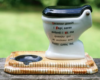 Vintage Italian Ceramic Toilet Ashtray/Tobacciana