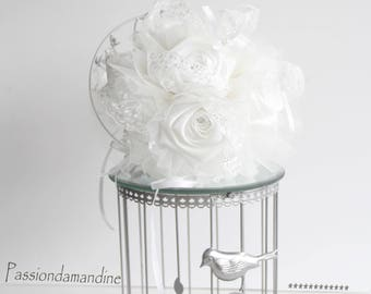 Wedding bridal white satin and lace bouquet